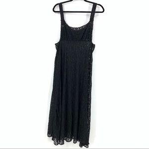 Vintage women's black long lace nightie large